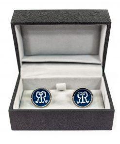 Srebrne spinki do mankietów z logo Rigby